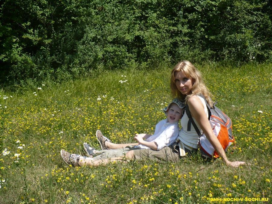 на цветочной поляне
