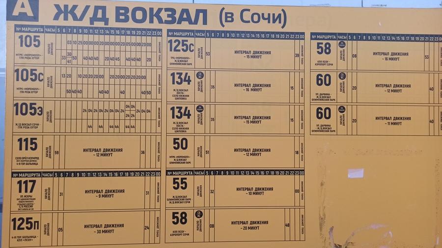 расписание автобусов Адлер - Сочи