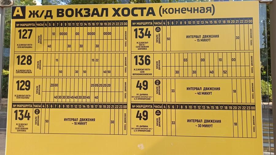 расписание автобуса 128, 127 ж/д вокзал Хоста
