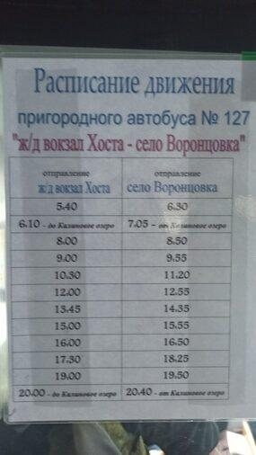 Расписание автобуса Хоста - Воронцовка